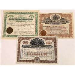 Three Different Automobile Company Stock Certificates  (107962)