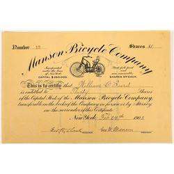 Manson Bicycle Company Stock Certificate - Early Motorcycle  (127036)