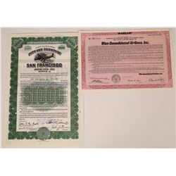 Two Aviation Certificates: San Francisco Airport Bond Plus Alaska Air Stock  (107973)