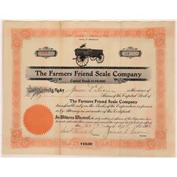 The Farmers Friend Scale Company Stock Certificate  (109301)
