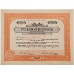Bank of Hollywood Stock Certificate   (126011)