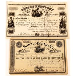 Two Early Bank of Kentucky Stock Certificates  (126081)