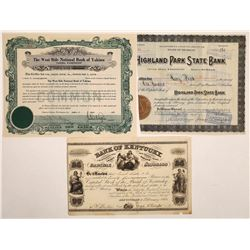 Bank of Kentucky Stock Certificate Plus Other Bank Certificates  (126084)