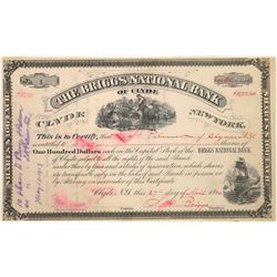 Briggs National Bank of Clyde, NY Stock Certificate--Number 1  (125890)