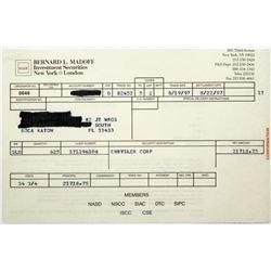 Bernard Madoff Investment Securities Stock Confirmation Slip- Market Fraudster  (118711)