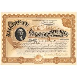 American Investors' Security Company Stock Certificate  (125894)