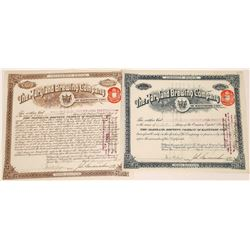 Maryland Brewing Company Stock Certificate Pair  (125925)
