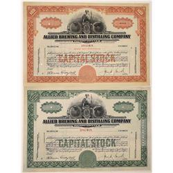 Allied Brewing & Distilling Company Specimen Stock Certificates  (126214)