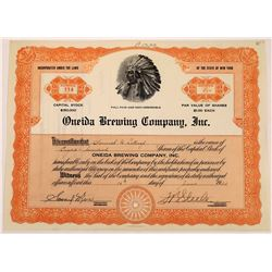Oneida Brewing Company, Inc. Stock Certificate  (109319)