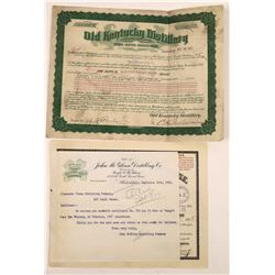 Clover Club Whiskey and Old Kentucky Club Whiskey Certificates  (126083)