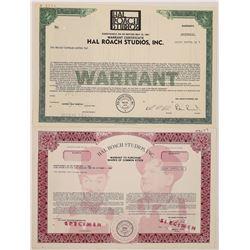 Hal Roach Studios Specimen Stock Certificates  (126963)