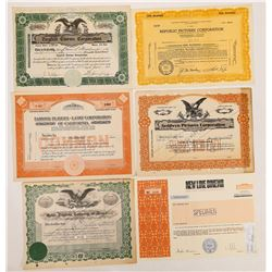 Six Classic Hollywood Studio Stock Certificates  (126563)