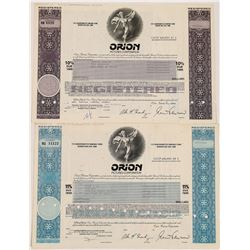 Orion Pictures Corporation Stock Certificates-2  (126806)
