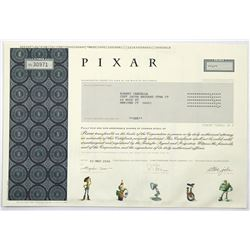 Pixar Stock Certificate, Issued for One Share, Founded by Steve Jobs  (118716)