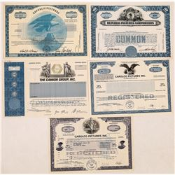 Republic Pictures and More Film Co. Stock Certificates  (126965)
