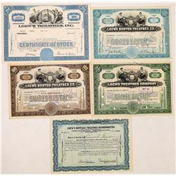 Loew's Theatres, Inc Stock Certificates-5  (126964)