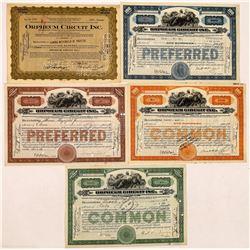 Orpheum Circuit, Inc. Stock Certificates-5  (126967)