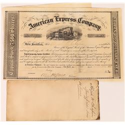 American Express Company stock certificate, signed by William Fargo, John Butterfield, and Holland