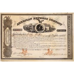 American Express Co. Stock Certificate Signed by Fargo & Butterfield  (126069)