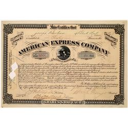 American Express Co. Stock Certificate Signed by Fargo and Holland  (126068)