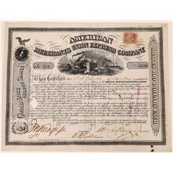 American Merchants Union Express Co. Stock Certificate Signed by Fargo  (126073)
