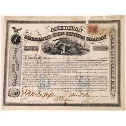 American Merchants Union Express Co. Stock Certificate Signed by Fargo  (126074)