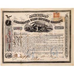 American Merchants Union Express Co. Stock Certificate Signed by Fargo  (126075)