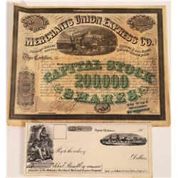 Two Express Company Pieces: Stock Certificate & Pictorial Check  (126077)