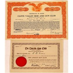 Gun Clubs Stock Certificate Pair  (126341)