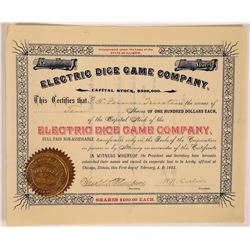 Electric Dice Game Company Stock Certificate  (126351)