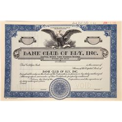 Bank Club of Ely, Inc. Stock Certificate  (109325)