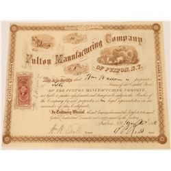Fulton Manufacturing Company Stock Certificate--Number 2  (126080)