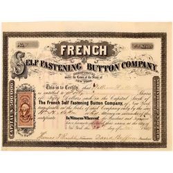 French Self Fastening Button Company Stock Certificate  (109322)
