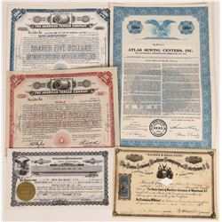 US Sewing Company Stock Certificate Group  (109299)