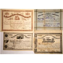 Early Lumber Company Certificates (4)  (122848)