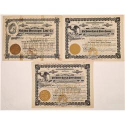 Alabama Land Company Stock Certificate Trio  (126008)