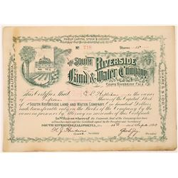 South Riverside Land & Water Co. Stock Certificate  (126012)
