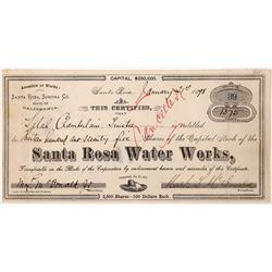 Santa Rosa Water Works Stock Certificate  (126053)