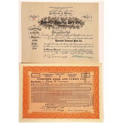 Two Different Yosemite Park Stock Certificates  (126319)