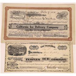Two California Ice Company Stock Certificates  (109129)