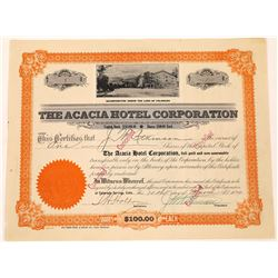 Acacia Hotel Corporation Stock Certificate -- Number 1  (125898)