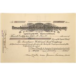 Broadmoor Hotel & Land Co. Stock Certificate Signed by Spencer Penrose  (125891)