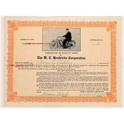 Early Bicycle Stock Certificate: W.E. Hendricks Corporation  (126316)