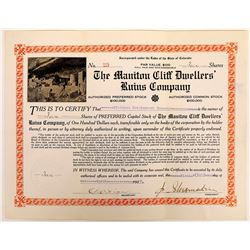 Manitou Cliff Dwellers' Ruins Co. Stock Certificate  (126308)