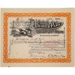 Beaver Park Land & Water Company Stock Certificate  (109324)