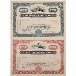 Aetna Life Insurance Co. Stock Certificate Pair  (126049)