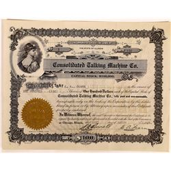 Consolidated Talking Machine Co. Stock Certificate #1  (126311)