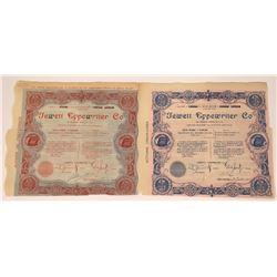 Jewett Typewriter Company Pictorial Stock Certificate Pair  (126027)