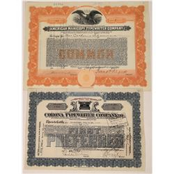 Two Different Typewriter Company Stock Certificates  (107969)