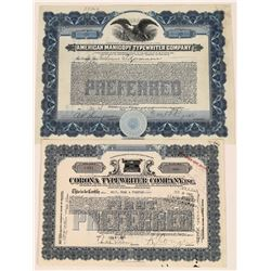 Two Different Typewriter Company Stock Certificates  (107968)
